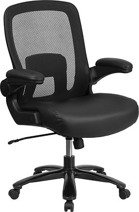 hercules series big and tall 500 lb weight rate 24 /7 intensive  use ergonomic chair black leather seat and mesh back