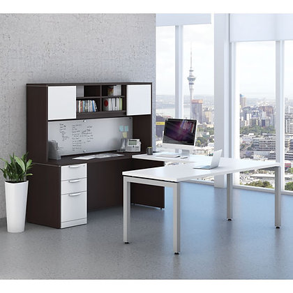finish combination modular U shaped desk with hutch espresso and white finish typical os110