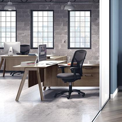 sienna collection mid century modern L shaped desk in walnut finish