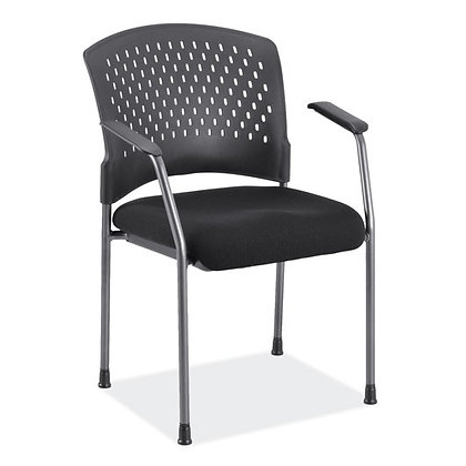 aero collection plastic back guest chairs with black seat and titanium finish frame
