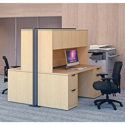set of 2 desk workstations with hutch and divided panel wall typical OS124