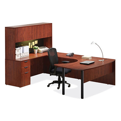 encore laminate collection executive U shaped desk with hutch laminate in cherry finish