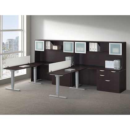 stand up collection set of 2ea. open plan workspaces with storage and hutch with privacy screens