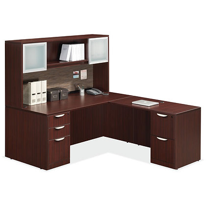 os laminate executive l shaped desk with hutch in mahogany finish typical os89