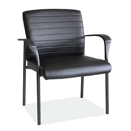 tate collection black bonded leather guest chairs with black metal frame