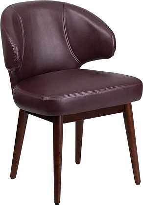 burgundy leather guest chairs with wood legs