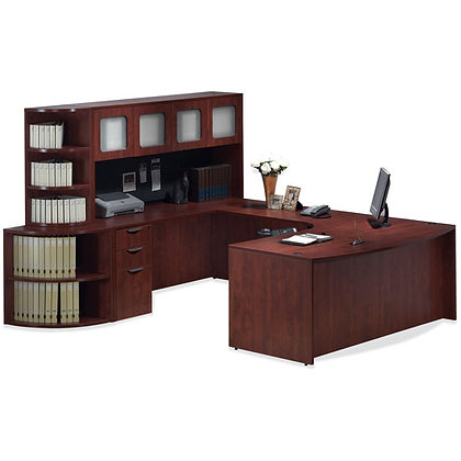 os laminate collection executive U shaped desk with hutch and corner bookcase left side in mahogany finish typical os7