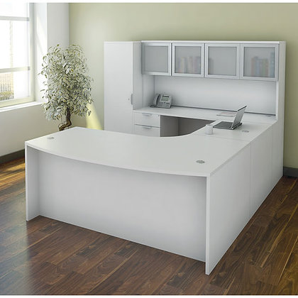 os laminate collection executive U shaped desk with hutch and personal unit left side in white finish