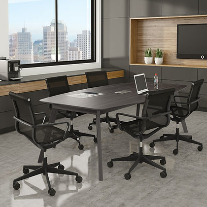 """sienna collection mid century modern 94"""" boat shaped conference table with grommet in gray finish"""