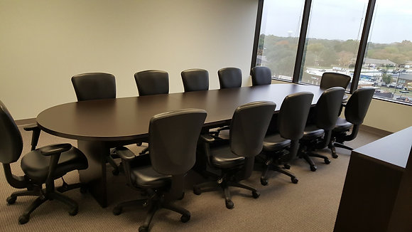 14' cherryman racetrack shaped conference table in dark espresso finish with matching base