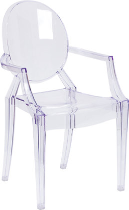 ghost chairs with arms transparent finish
