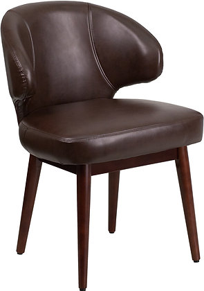 brown leather guest chairs with wood legs