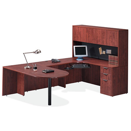 os laminate collection bullet front u shaped desk with hutch in mahogany finish typical os8