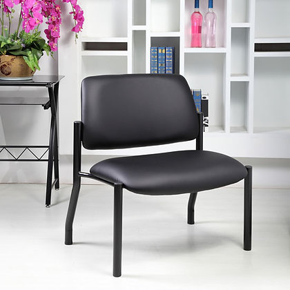 big and tall armless guest chairs 500 weight capacity with antimicrobial upholstery and heavy duty black base