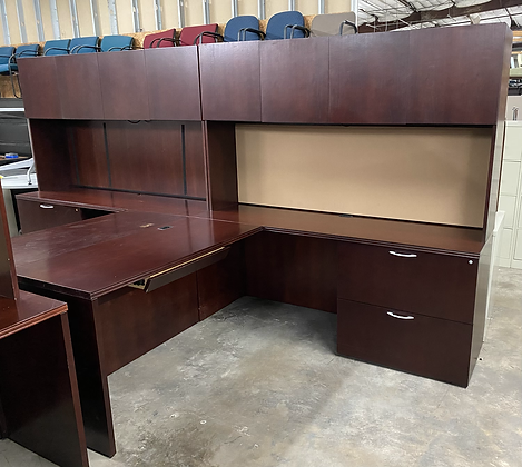 OFS L shaped desk with hutch