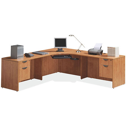 laminate corner L shaped desk with 2ea. pedestals with lock in honey finish