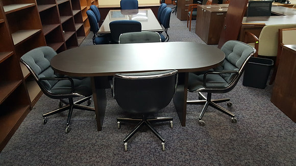 6' cherryman racetrack shaped conference table in dark espresso finish with matching base