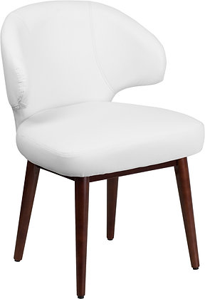 white leather guest chairs with wood legs