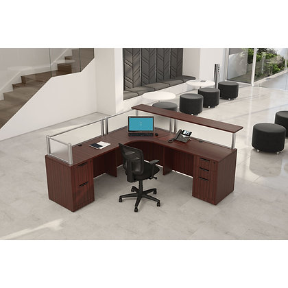 borders collection 7' x 7' double pedestal reception L shaped desk