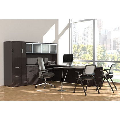 os laminate collection executive u shaped desk with hutch and wardrobe unit in espresso finish