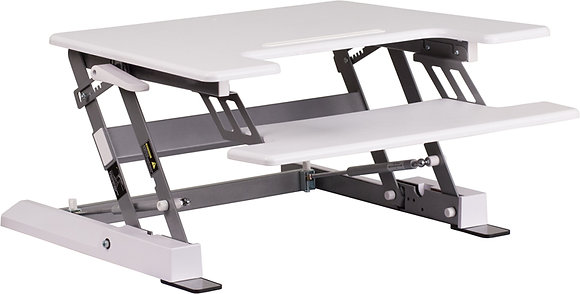 """hercules series 28.25"""" sit to stand desk in white finish"""
