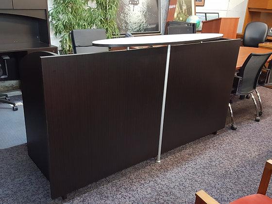 cherryman verde series laminate double hanging pedestal reception desk with oval shaped glass transaction top dark espresso