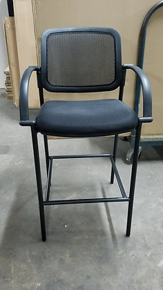Mesh back cafe height guest chair with arms