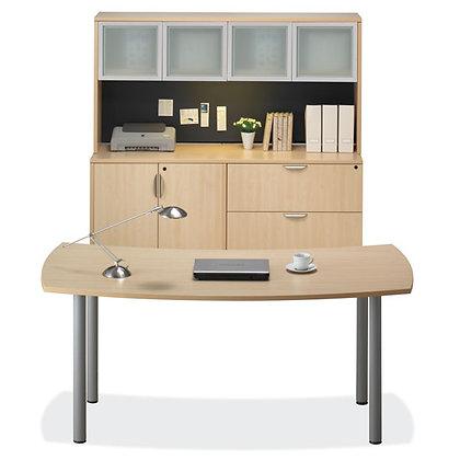 encore laminate collection desk and credenza set with hutch laminate in maple finish