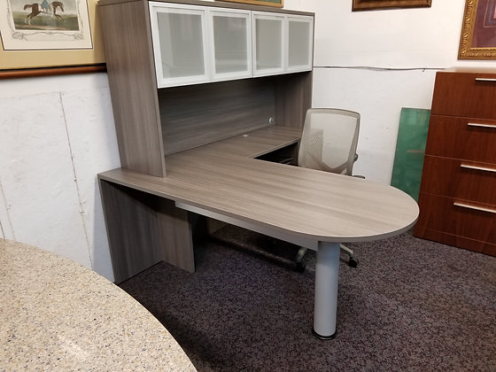 5.5' x 6' cherryman amber series bullet shaped front laminate L shaped desk with hutch in gray finish