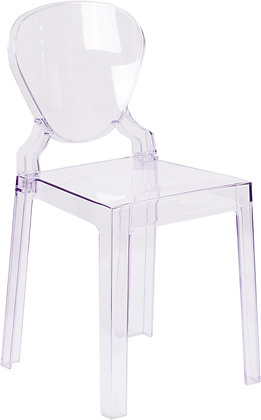 ghost chair with tear drop back in transparent finish