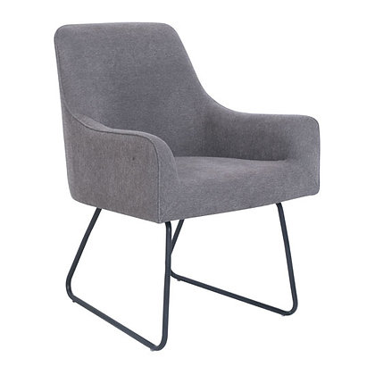 crescent collection guest chairs gray fabric with black base
