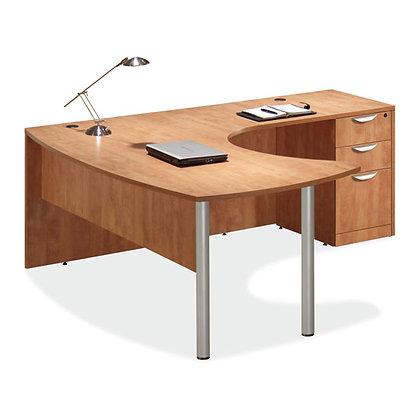 laminate l shaped desk with box box file pedestal in honey finish.