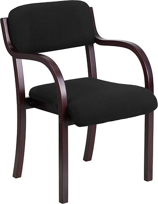 contemporary mahogany wood guest chair with black fabric upholstery