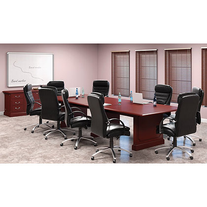 abbey collection 12' traditional rectangular conference table wood in mahogany finish