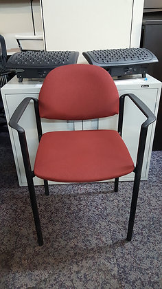 global commet guest stack chairs black metal frame with red upholstery