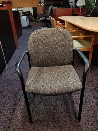 gunlocke contura guest chairs black frame with leaf design fabric