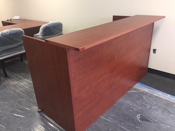 cherryman amber series double hanging pedestal reception desk in cherry finish
