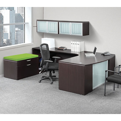Os laminate collection executive L shaped desk with overhead storage hutch and side personal cabinet in espresso finish