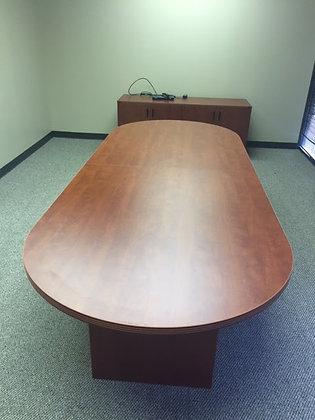 10' cherryman racetrack shaped conference table in cherry finish with matching base