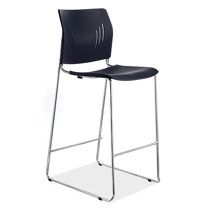 rise armless stools polyurathane in black with foot rest