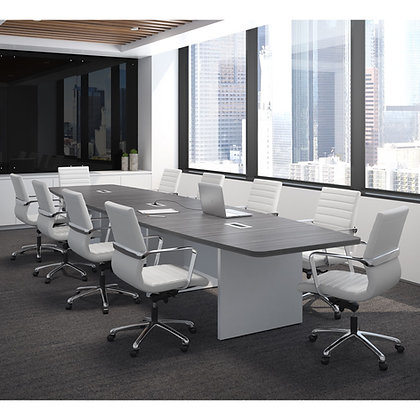 office source laminate 16' boat shaped conference table with wire grommets
