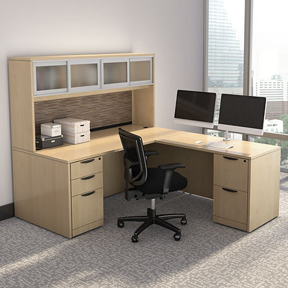 executive l shaped desk with hutch in maple finish typical os127