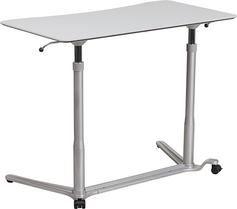 pneumatic sit to stand ergonomic table desk in white finish