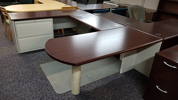 Hon bullet front u shaped desk with mahogany finish tops and metal body in putty finish