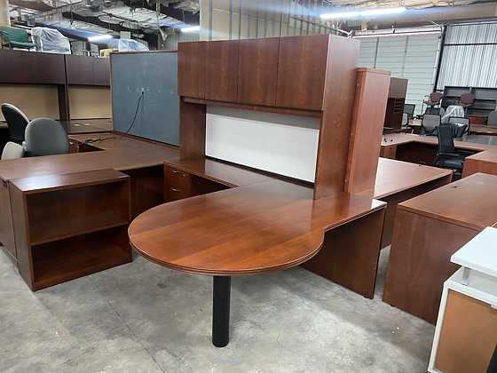 OFS executive L shaped desks with hutch