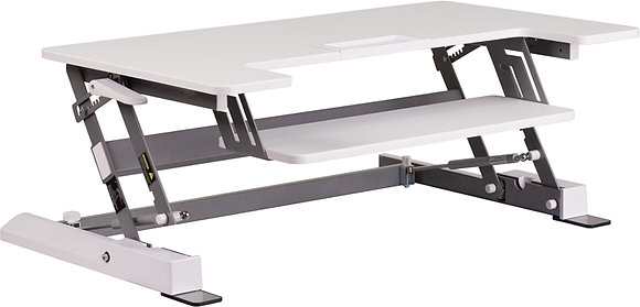"""hercules series 36.25"""" wide sit to stand desk in white finish"""