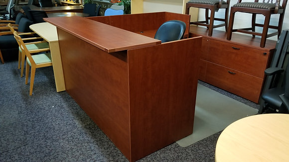 6' x 6.5' cherryman full pedestal reception L shaped desk in cherry finish