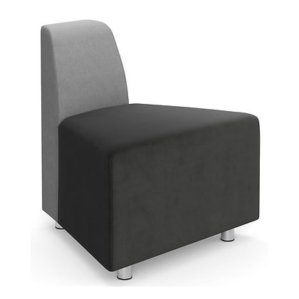 integratr collection corner chair with back on small side with silver post legs