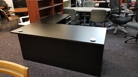 5.5' x 6' cherryman verde series laminate L shaped desk in dark espresso finish