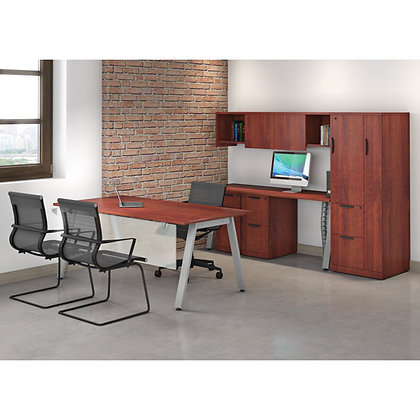 variant collection executive office set up with wall mounte storage units and side wardrobe cabinet in cherry finish